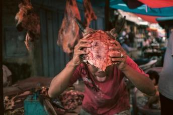 Skull At An Indonesian Market. Sumatra.