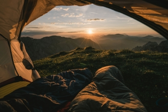 Sunrise camping spot in the Austrian Alps.