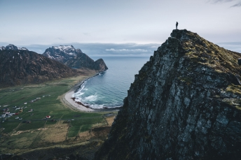 Summiting the Lofoten Islands.