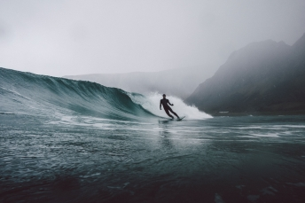 Surfing on the Lofoten Islands in Norway.