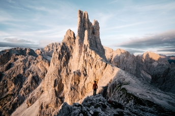 The Vajolet Towers in the Dolomites, Italy.