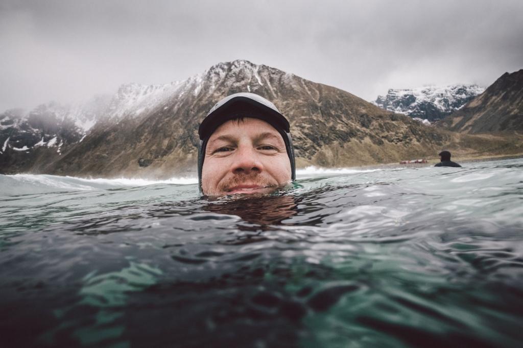 Selfie in the Arctic Ocean. Lofoten, Norway.