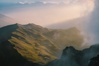 Moody lights in the mountains in Austria Zillertal.