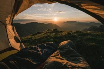Sunrise camping spot in the Austrian Alps.