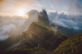 Geisler Group seen from Seceda in the Dolomites, Italy.