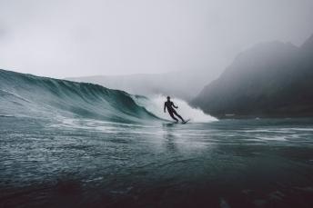 Surfing on the Lofoten Islands in Norway.