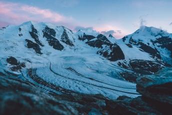 Piz Palue in the Bernina Alps Switzerland.
