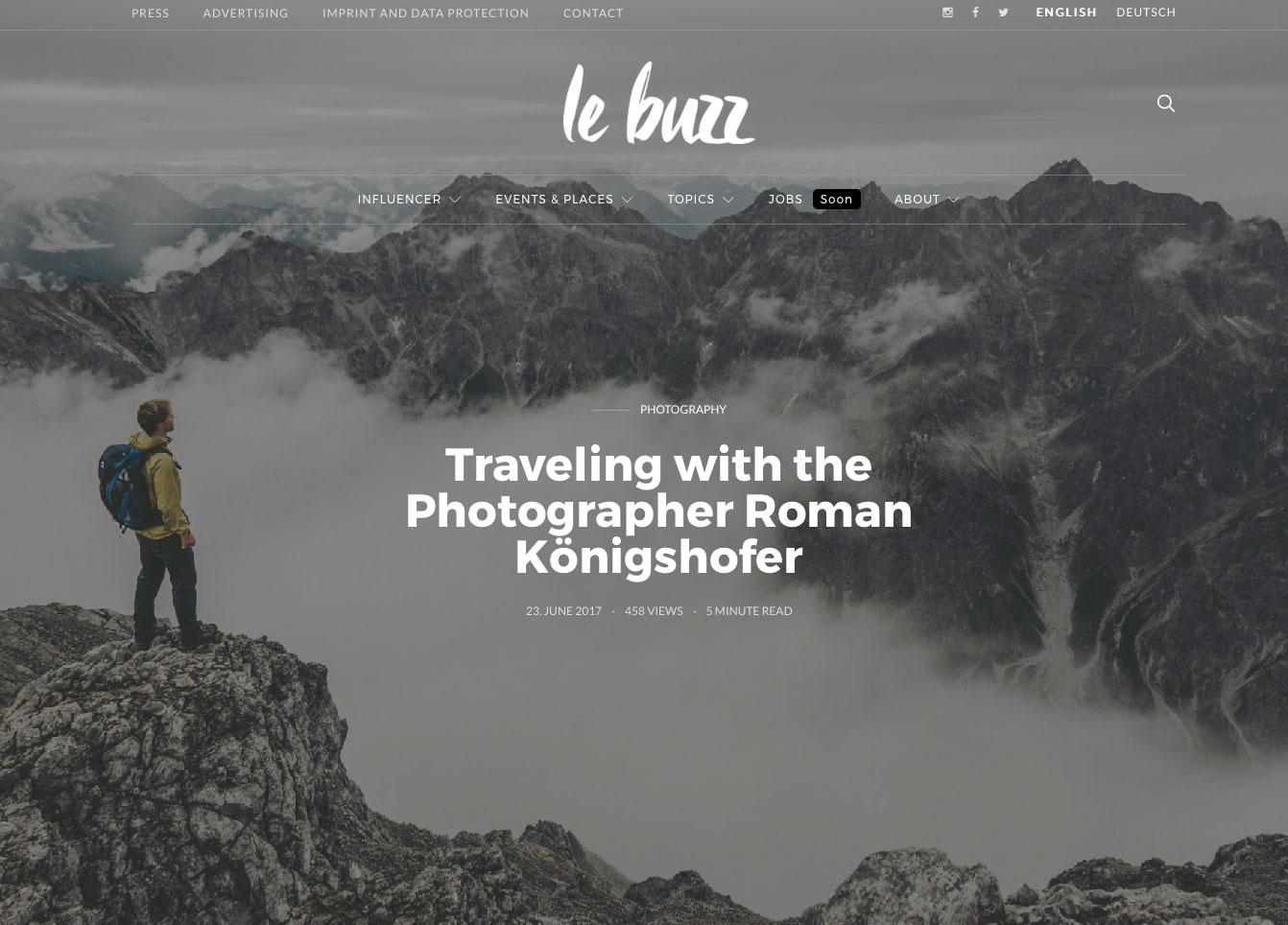 Interview Roman Koenigshofer with Le Buzz Magazine
